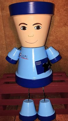 US Post Office Flower Pot People Mailman Mail women Clay