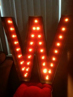 """W is for WOW! 36""""x36"""" Midway Marquee Sign! Custom Orders by The Electric Moon"""