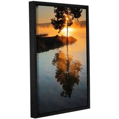 ArtWall Steve Ainsworth Mists on Fire Gallery-Wrapped Floater-Framed Canvas, Size: 24 x 36, Blue