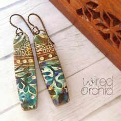 Boho Vines Polymer clay earrings. www.wiredorchid.com #wiredorchid #jewelry #earrings #polymerclay #polymerclayearrings