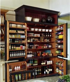 Ideally, kitchen pantry furniture should be strong enough to hold canned goods and heavier items while also being easy to clean. Selecting the best kitchen pantry furniture should consider the size of your kitchen space and your kitchen design. Kitchen Pantry Design, Kitchen Pantry Cabinets, Diy Kitchen, Organized Kitchen, Kitchen Island, Larder Cupboard, Kitchen Ideas, Armoire Pantry, Awesome Kitchen