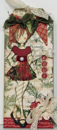 Prima Doll Love 2 by Serenity_Stamper - Cards and Paper Crafts at Splitcoaststampers Prima Paper Dolls, Prima Doll Stamps, Card Tags, Gift Tags, Christmas Tag, Christmas Crafts, Tag Craft, Julie Nutting, Handmade Tags
