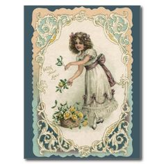 vintage valentine's day postcards | Vintage Victorian Valentine's Day Girl with Roses Postcard from Zazzle ...