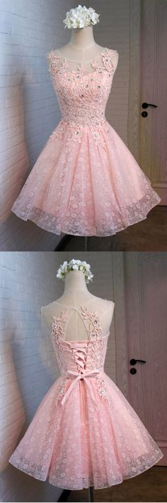 A-Line Round Neck Lace Beaded Homecoming Dress Cocktail Dress PG129