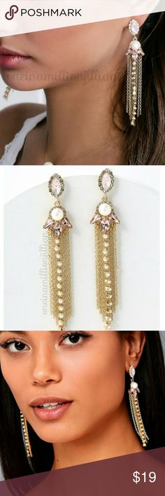 "Lulus Sentimental Feelings Rhinestone Earrings New/Carded  100% AUTHENTIC  Create memories worth reminiscing on in these unforgettable gold & pink rhinestone earrings.  Pink, iridescent & clear rhinestones deck out these stunning earrings with pearl accents & dangling gold chain fringe.  ◇ Pierced/Post backs ◇ Measures approx 4"" long  Check my page for more items to bundle with! #oneinamillionjillian Lulu's Jewelry Earrings"