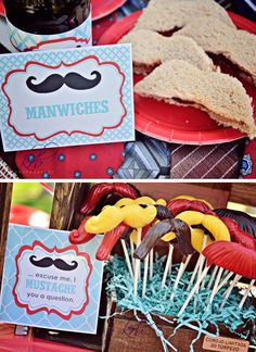 DIY Printables Little Man Mustache Bash Blue & Red by BelvaJune