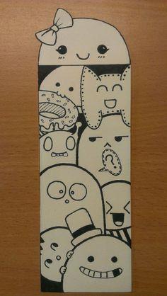 Cute Doodle Art, Doodle Art Drawing, Cool Doodles, Art Drawings Sketches, Creative Bookmarks, Diy Bookmarks, Cute Kawaii Drawings, Doodle Designs, Collaborative Art