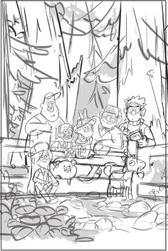 A Big Weird Happy Family Unfinished promo art by master of appeal (and Ford's character designer!) Alonso Ramirez Ramos <- Is like a nice and cute family picture #GravityFalls #Pines