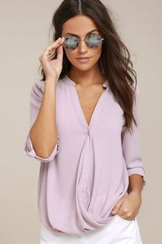 Rush Hour Mauve Button-Up Top