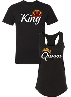 King and Queen Shirts / Couples Apparel / Couples Shirts / Wedding / Couples Apparel has the best matching apparel for you and your significant other! Couple Shirt Design, King Queen Shirts, Matching Hoodies For Couples, Cute Shirt Designs, Me And Bae, Family Reunions, Crew Neck Shirt, Couple Shirts, Wedding Couples
