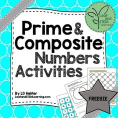 FREE These two math centers activities will help your students practice identifying prime and composite numbers. Also included are a student reflection page and four exit tickets to check for student participation and understanding.Anchor stations include:*Venn diagram classification sort with student reflection page*Prime and composite Maze Game 4-6