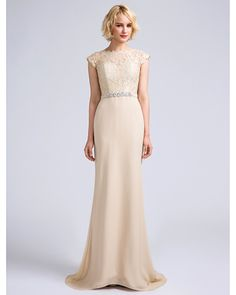 Mermaid / Trumpet Jewel Neck Sweep / Brush Train Chiffon Bridesmaid Dress with Lace by LAN TING BRIDE® - USD $79.99 ! HOT Product! A hot product at an incredible low price is now on sale! Come check it out along with other items like this. Get great discounts, earn Rewards and much more each time you shop with us!