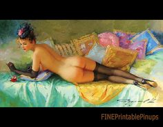 Konstantin Razumov pinup nude woman naked stockings bed pillows colorful french pinup pin up vintage classic old retro illustration drawing painting   poster girl woman pretty sexy vargas elvgren art artist hair dress 50s 40s 30s 20s 60s 70s 1920 1930 1940 1950 1960 1970 300dpi printable quality