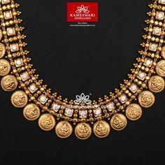 Classic Antique Kasumala With CZ's Antique Jewellery Designs, Gold Jewellery Design, Antique Jewelry, Gold Temple Jewellery, Rose Gold Jewelry, India Jewelry, Bridal Jewelry Sets, Wedding Jewelry, Classic