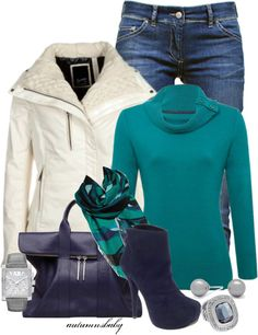 Winter style...making this MY style, the heels would come off of the shoes, making them flats and the jeans would become navy leggings. LOVE IT!