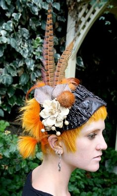 Wood Flower and Pheasant Feather Head Piece by MissGiggleMonster
