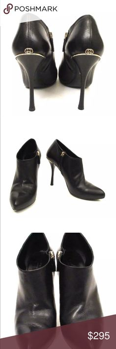 Sexy Gucci GG Black Booties❤️❤️❤️ Stunning Gucci Booties. Great add to all of your beautiful outfits! These are super cute and classy! GG on back of shoes. Some creasing from wear and wear on sole but habe so much love left to give ♥️♥️♥️ Fits size 7.5 US Gucci Shoes Ankle Boots & Booties