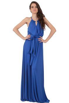 Φόρεμα μακρύ σε άνετη γραμμή με δέσιμο στον λαιμό και κρουαζέ σχέδιο εμπρός και πίσω και ζώνη στην μέση