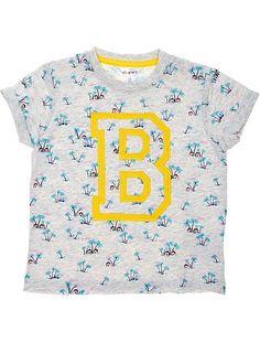 Tee-shirt coton manches courtes imprimé palmiers Petit garçon