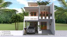 Home Design Plan with 4 Bedrooms - SamPhoas Plan Two Story House Design, 2 Storey House Design, Bungalow House Design, House Front Design, Home Building Design, Home Design Plans, Building A House, Narrow Lot House Plans, 4 Bedroom House Plans