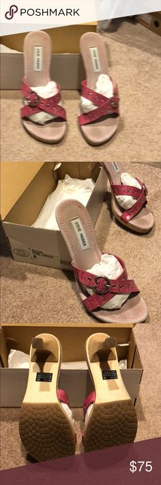Steve Madden pink heeled sandals. Size 8 Beautiful pink heeled sandals. Very comfortable. Excellent condition! Barely worn. Size 8 Steve Madden Shoes Heels