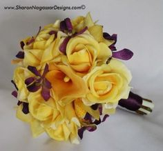 yellow and purple wedding colors/bouquet