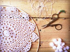 Dreamcatcher easy DIY lace crochet doily and jersey fringes - Perles & Co Organza Ribbon, Lace Ribbon, Headboard Art, Finding A Hobby, Strongest Glue, Swarovski Crystal Beads, Ball Chain, Czech Glass Beads, Diy Face Mask