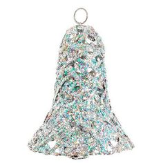 Sheas Wildflower Company Silver 8-In. Glitter Christmas Bell ($15) ❤ liked on Polyvore featuring home, home decor, holiday decorations, silver, christmas home decor, christmas holiday decor, silver home decor, white home decor and christmas holiday decorations