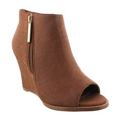 Liliana Footwear Brown Lupita Peep-Toe Wedge Bootie ($27) ❤ liked on Polyvore featuring shoes, boots, ankle booties, ankle boots, brown peep toe booties, brown booties, brown boots, peep toe booties and high heel ankle boots