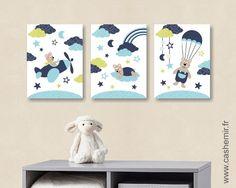 Lot de 3 illustrations pour chambre d'enfant garçon, affiche poster décoration chambre bébé, réf.56 bleu vert : Décoration pour enfants par cashemir