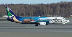 """Figuras típicas da neve ajudam a """"transformar"""" esse avião da #AlaskaAir em um trenó"""