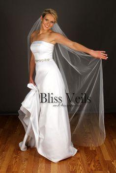 Bliss Veils on Etsy Plain Edge Wedding Veil, Floor Length Bridal Veil, 1 Layer Veil Floor Length Veil, Simple Veil, Bridal Gowns, Wedding Dresses, Wedding Veils, Chapel Wedding, Fingertip Veil, Bridal Style, Strapless Dress Formal