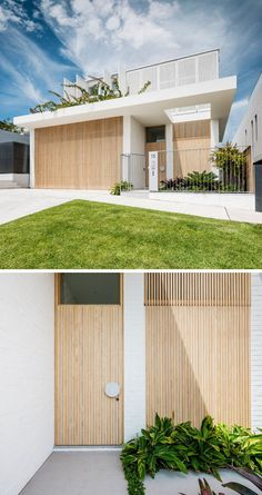 The double garage door of this modern housr is hidden in plain sight by integrating the door and using it as part of the overall facade design. Timber Garage Door, Double Garage Door, Modern Garage Doors, Garage Exterior, Modern Entrance, Entrance Ideas, Modern Door, Door Ideas, Wall Ideas