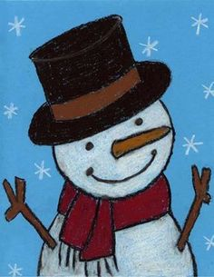 "Snowman drawings don't have to be small and flat. In fact, they are a great chance to make things look more dimensional, as in a tube-shaped hat and a sphere-shaped body. Try this tutorial for bringing a little more ""life"" to your snowman. • View and download Happy Snowman Tutorial"
