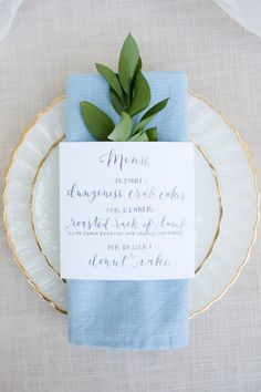 A sage green and French blue wedding colour scheme works wonderfully in the Summer but the cooler shades also look fab in January and February. Wedding Menu, Our Wedding, Wedding Invitations, Rustic Wedding, Wedding Dinner, Wedding Tables, Chic Wedding, Trendy Wedding, Elegant Wedding