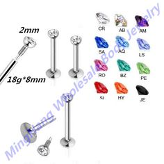 18G Internally Threaded Labret Monroe Lip Bar Ring Ear Cartilage Helix Tragus Stud Piercing Body Jewellery 24pcs/lott