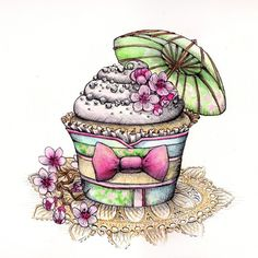 Cherry Blossom Kimono Cupcake - Original Pen and Watercolor Artwork By Madeleine Bellwoar