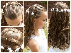 collage propuesta para comunión Kids Hairstyles For Wedding, Young Girls Hairstyles, Flower Girl Hairstyles, Fancy Hairstyles, Communion Hairstyles, Girl Hair Dos, Toddler Hair, Long Hair Cuts, Curly Hair Styles