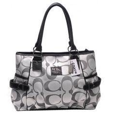 fc7446c9c492 Cheap Coach Classic Signature Fabric Leather Trim Ash Shoulder Bag for Sale