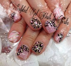 Pink animal print zebra leopard nail art