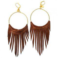 Leather Fringe Hoop Earrings - Polyvore