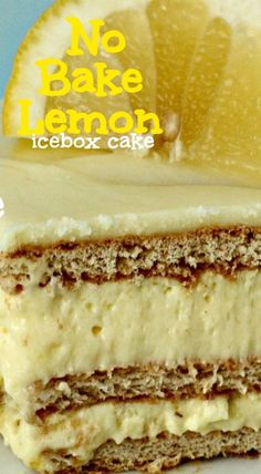 Icebox Desserts, Köstliche Desserts, Frozen Desserts, Delicious Desserts, Dessert Recipes, Yummy Food, Icebox Cake Recipes, Easy Lemon Desserts, Lemon Recipes