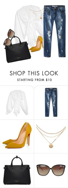 """b a d d i e"" by doe-eyes ❤ liked on Polyvore featuring Johanna Ortiz, Christian Louboutin, Burberry and Linda Farrow"
