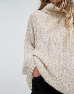 Pull crème en maille douce de laine mélangée - Asos