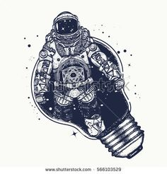 Astronaut in a light bulb tattoo art. Symbol of creative thinking, new ideas. Astronaut surreal graphics t-shirt design