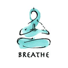 """A tattoo design of a yogin with the """"breathe"""" word. This tattoo is usually chosen by those who practice yoga. It represents calmness."""