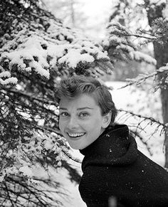 Portrait of Audrey by Mel Ferrer in St. Moritz, 1954.