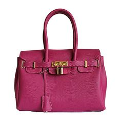 Petite Designer Style Bright Pink Leather Handbag - Down to £34.99 from £54.99