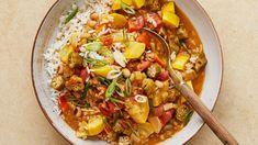 Vegetarian Gumbo - One pot - Beef Stroganoff Veggie Recipes, Soup Recipes, Cooking Recipes, Healthy Recipes, Vegetarian Gumbo, Vegetarian Entrees, Going Vegetarian, Korma, Veggies