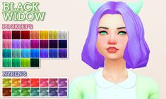 Black Widow hair by primadonna-sims, in Pooklet's Unnaturals and Nyren's Pastels. You'll need the mesh for this to work!More information and download at my blog.